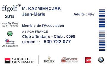 Membre fédération Française du golf